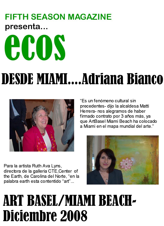 ECOS DESDE MIAMI 2008...ADRIANA BIANCO